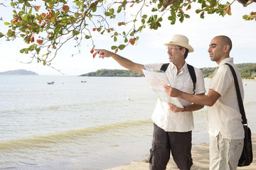 Gay couple on vacation pointing at destination