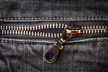 copper zipper black jeans