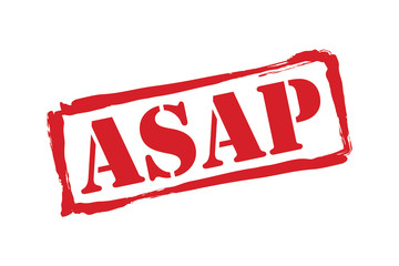 ASAP red rubber stamp vector over a white background.