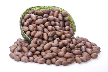 Unshelled Pecan Nuts Spilling from Zulu Beaded Basket