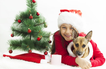 child in Santa hat and red puppy on a white background