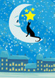 cat sitting on the moon in the night sky