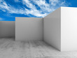 Abstract 3d background, empty white room interior