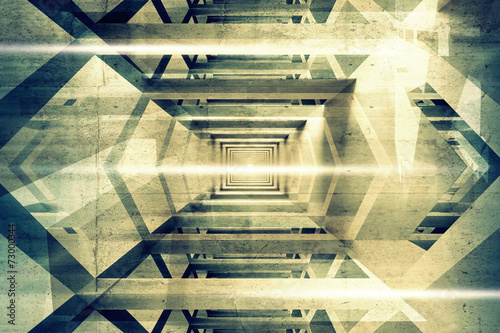 Abstract 3d interior background with light beams - 73000344