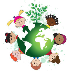 green world with children