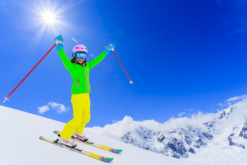 Skiing, freeski, downhill - skier on mountainside