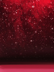 Bright red Christmas background with falling snow