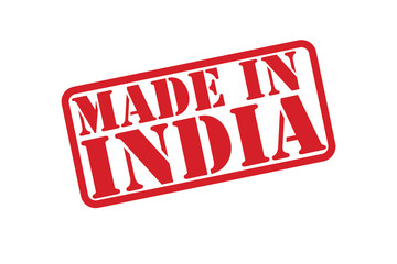 MADE IN INDIA Rubber Stamp vector over a white background.