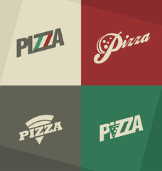 Pizza icons, labels, logos, symbols