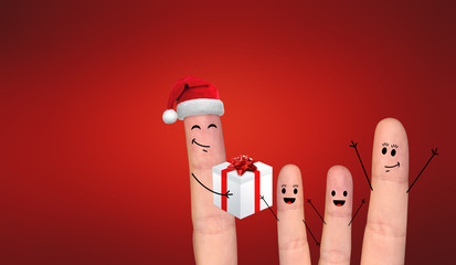 Happy finger couple in love celebrating Xmas