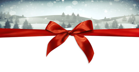 Christmas banner with ribbon