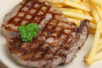 Rib Eye Beef Steak & Fries
