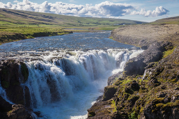 Landscape with waterfall, Iceland