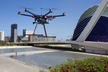 Dlying drone in the skies of Valencia