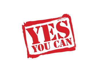 YES YOU CAN red rubber stamp vector over a white background.