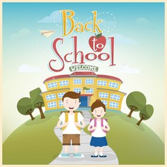 Back to School. Schoolboy and schoolgirl go to school.