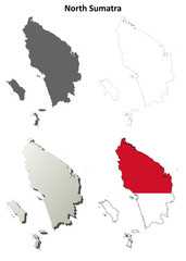 North Sumatra blank outline map set