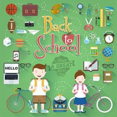 Back To School Typographical Background With Flat Icon Set