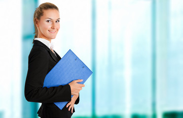 Smiling female manager in her office