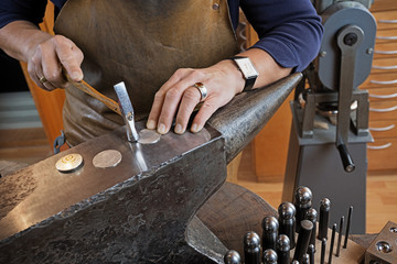 In the  goldsmith's workshop