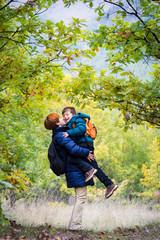 Autumn family hiking