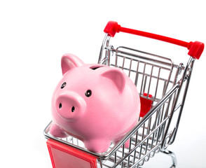 saving concept, piggybank in cart  - closeup