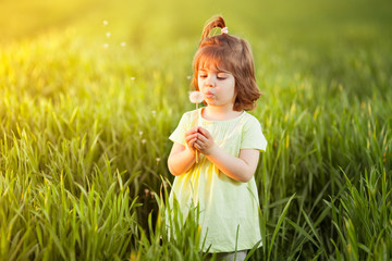 Girl blowing dandelion on a field