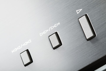 Player buttons on hi-fi audio system