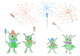 Child's drawing of Aliens celebrating New year with fireworks.