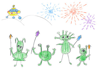 Child's drawing of Aliens celebrating New year on planet Earth.