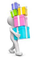 3d Männchen schleppt Geschenke