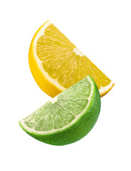 Lime and lemon slices isolated on white background