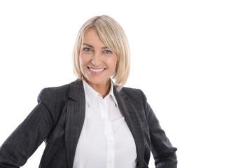 Erfolgreiche Frau in Beruf und Karriere: Portrait freigestellt