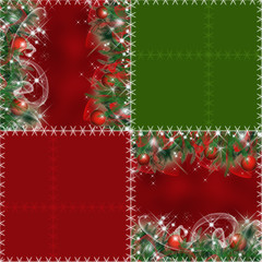 Patchwork seamless pattern with christmas tree and balls backgro