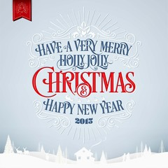 Merry Christmas And Happy New Year Background With Typography