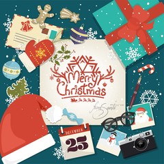Merry Christmas Background With Icon Elements