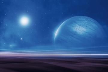 Distant alien world landscape