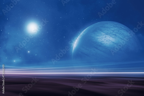 Leinwanddruck Bild Distant alien world landscape