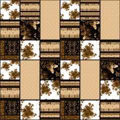 Patchwork retro brown roses textile texture pattern background