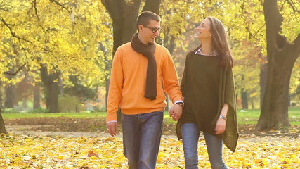 Young couple walking in the park.