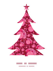 Vector ruby Christmas tree silhouette pattern frame card