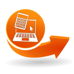 simulateur ordinateur sur bouton web orange