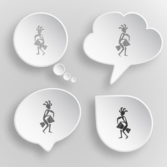 Ethnic little man with drum. White flat vector buttons on gray b