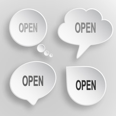 Open. White flat vector buttons on gray background.