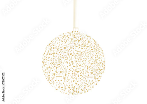Golden Christmas ball with music ornament - 73007102