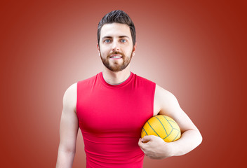 Volleyball player on red and blue uniform on red background
