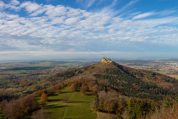 Scenic view on fairy tale castle Burg Hohenzollern