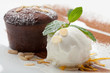 canvas print picture - Warm chocolate cake Fondant with ice-cream ball, almond, mint, c