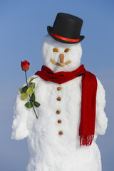 snowman as gentleman with rose