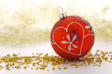 christmas decoration with red glitter ball